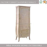 MW Home french paulownia wood bedroom furniture 1 door 2 drawers cheap wardrobe single door wardrobe for customer's design