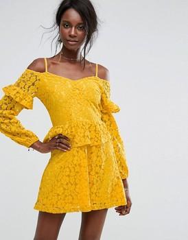 Womens cold shoulder ruffle lace long sleeve boho bright yellow dress eda0c820c3