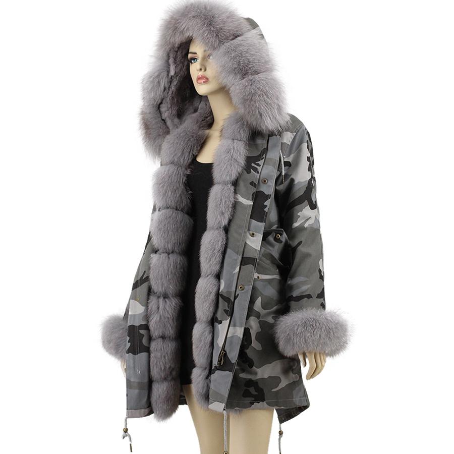 f0a1653de30ea 11 colors 90cm long white red black camouflage winter warm jacket  detachable women fox fur hood parka coat