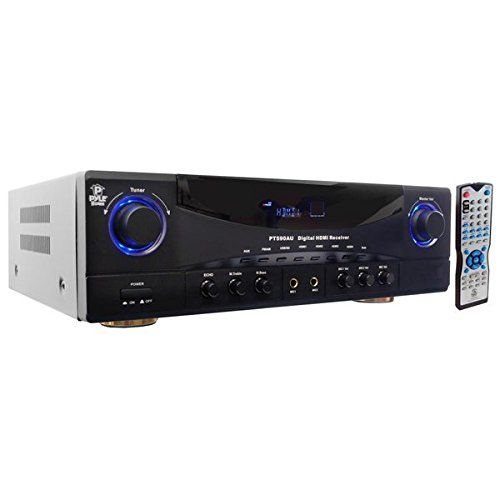 Home Audio Power Amplifier System - 350W 5.1 Channel Theater Stereo Receiver Box, Surround Sound w/ HDMI, RCA, AUX, Mic w/ Echo, LED, Remote - For Subwoofer Speaker, TV - Pyle PT590AU