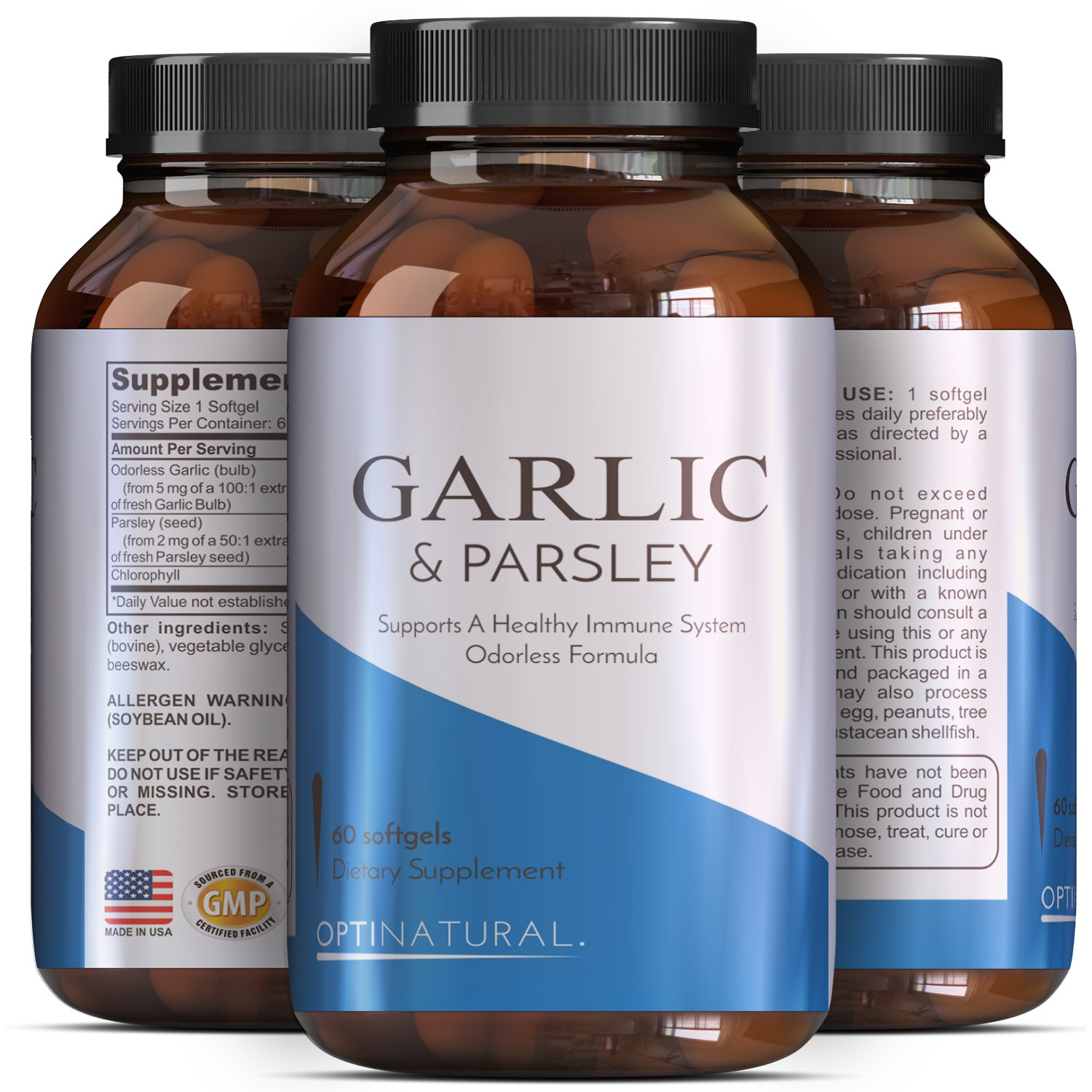 Odorless Garlic Pills for Weight Loss with Allicin – Contains Parsley Seed Extract & Chlorophyll -Powerful Antioxidants – Anti-Aging Formula – Increase Immunity with Vitamin C for Women and Men