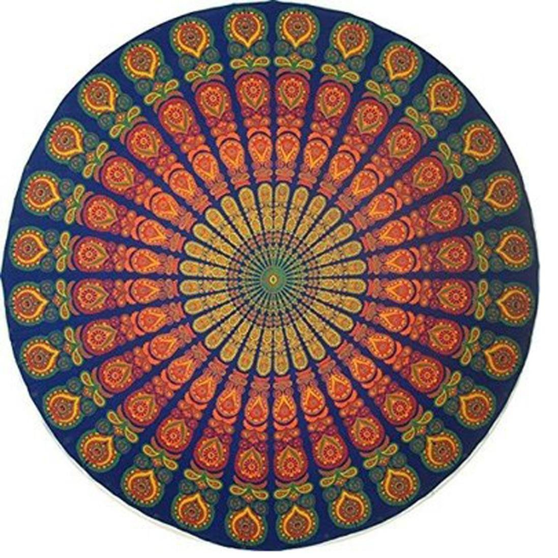 "Traditional India- Indian Cotton Mandala Roundies, Beach Throw, Indian Mandala Tapestry, Yoga Mat, Picnic Mat, Table Throw, Round Meditation Mat, Oversize Beach Towel 70"""