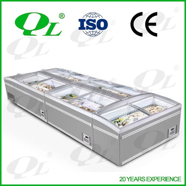Supermarket drinks display chiller and cooler showcase factory China open air freezer
