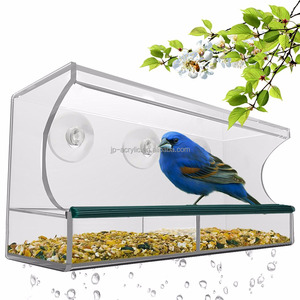Hot Sale Customized Clear Plastic Acrylic Squirrel Proof Window Large Wild Bird Feeder with Removable Tray