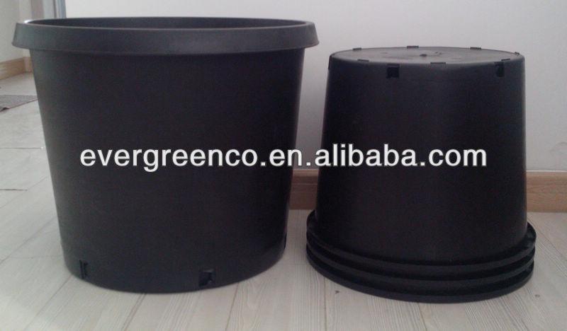 Pp grand plastique en plein air pots noir jardin pots for Grand pot de jardin pas cher
