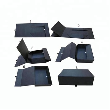 Custom Logo Recycled Cardboard Packaging Magnetic Closure Black Foldable Paper Gift Boxes