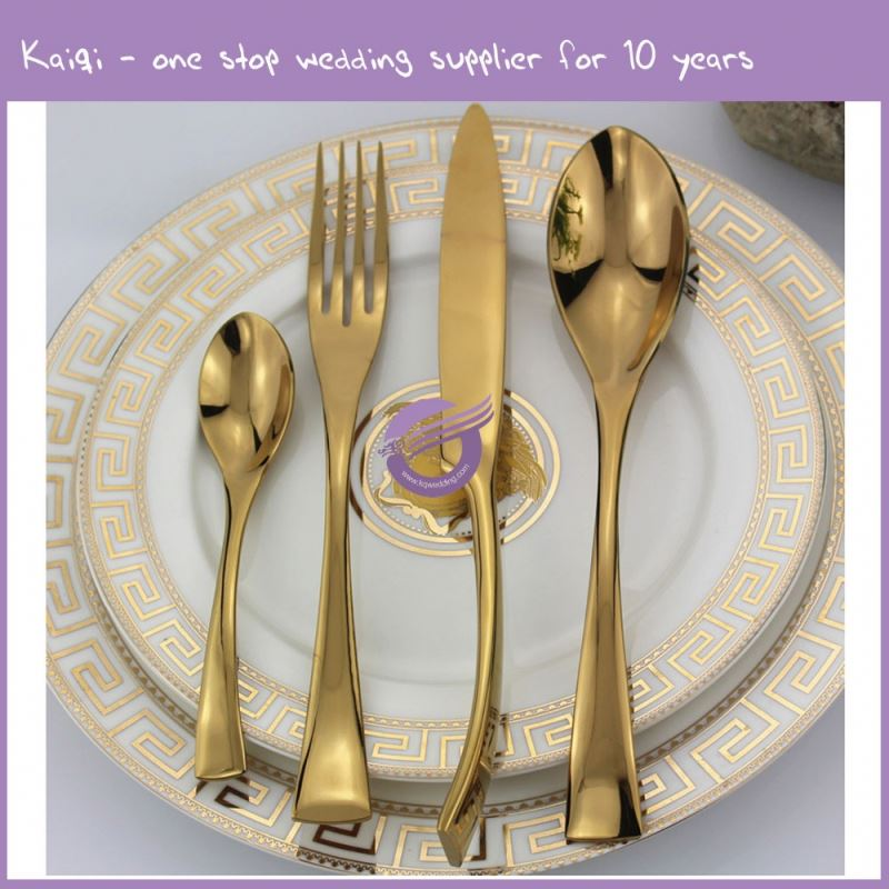 QT40470 Kaiqi Popular sell wedding knife and fork /wedding cake knife