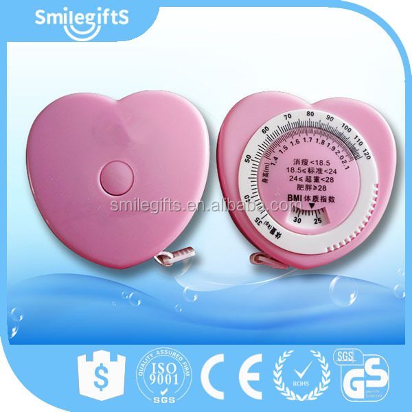 Heart Shaped Body Fat Caliper, Medical BMI Mini Retractable Tape Measure