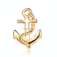 high quality zinc alloy lapel pin badge clothes decoration 3D anchor shape gold lapel pin for man