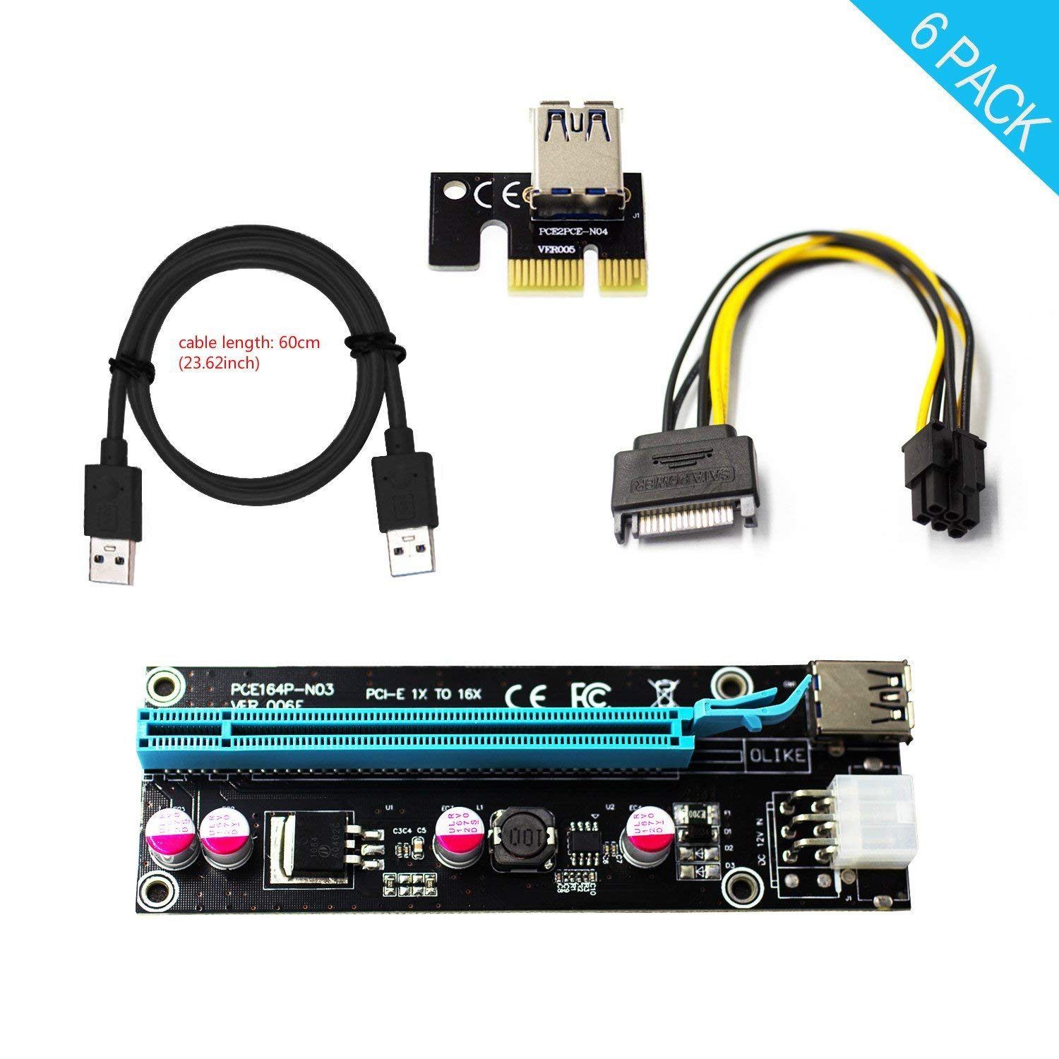 HotTopStar PCI-E 16x to 1x Powered Riser Adapter Card USB 3.0 Extension Cable & MOLEX to SATA Power Cable w/ 60cm GPU Riser Adapter Ethereum Mining ETH, Miner Power Supply (6pack)
