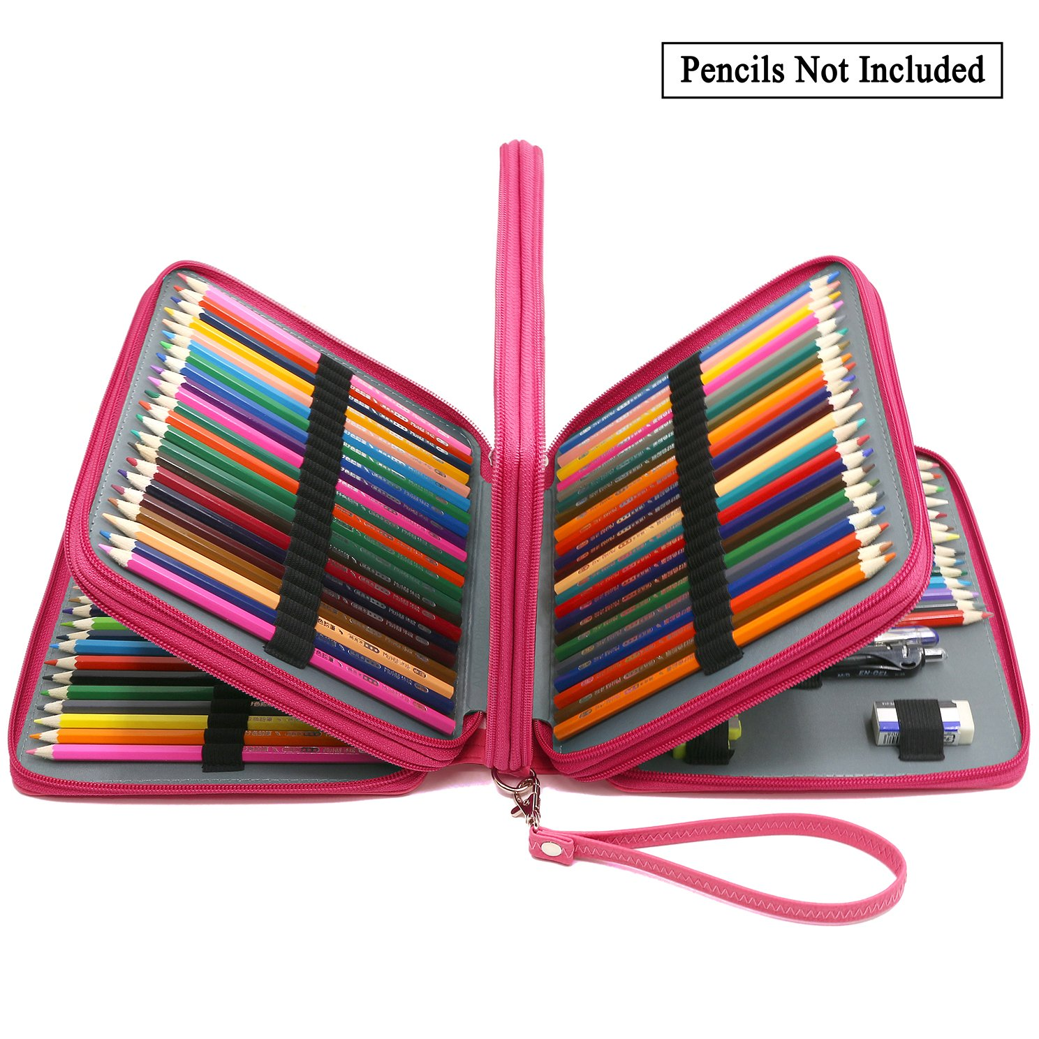 ADVcer 160 Slots Pencil Case - PU Leather Large Capacity Zipper Pen Bag with Hand Strap for Prismacolor Crayola Colored Pencil, Watercolor Pencil, Marco Pen, Gel Pen, Makeup Brush and Sharpener (Pink)