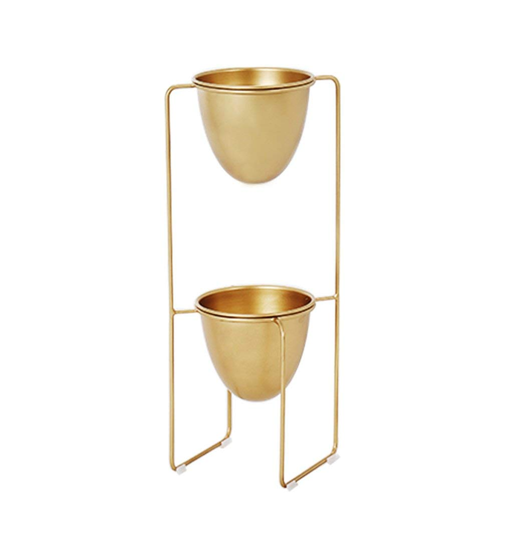 CSQ Wrought Iron Flower Stand, Iron Pot Double Layer Plant Stand Bedroom Living Room Office Business Location Unique Design Golden 3370CM Flower Shelf