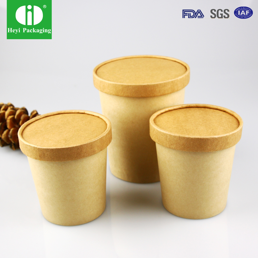 Customized Cheap Disposable Paper Soup/ice cream Bowl with Lid