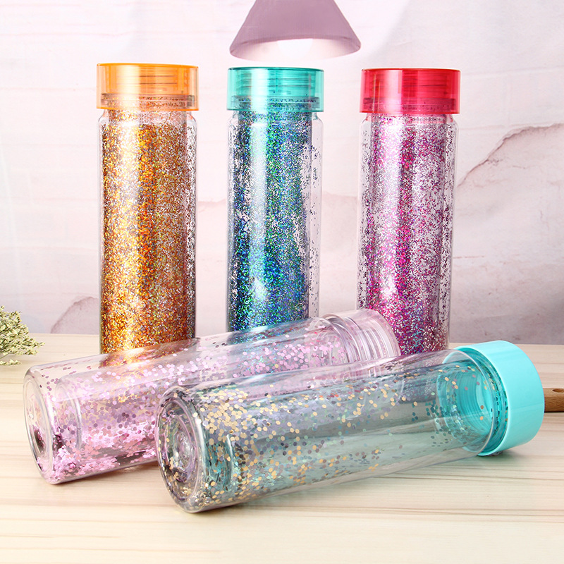 2017 new products glitter drinking water bottle double wall plastic water bottle
