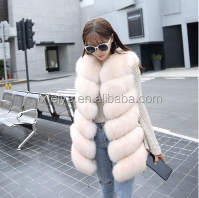 high quality fluffy and soft women's long real fox fur vest, Customized color