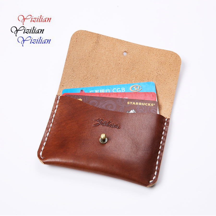 High quality unisex simple design genuine leather casual wallet card holder leather coin wallert YiZiLian YZLK007