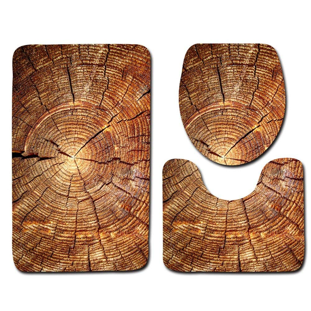 """Rustic Barn Wood Bathroom 3 Piece Rug Mats Set, Includes Flannel Extra Soft Shower Bath Rugs(19.7""""x31.5""""), Contour Mat and Lid Cover - Perfect Combination of Luxury and Comfort - Machine Wash/Dry"""