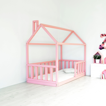 kids children wood floor house bed frame with groove ends