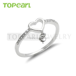 9RM115 Topearl Jewelry Heart Base 925 Sterling Silver Pearl Ring Blanks DIY Jewelry Findings