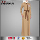 Muslim Abaya Khaki Women Embroidery Stand Collar Dresses Islamic Clothing