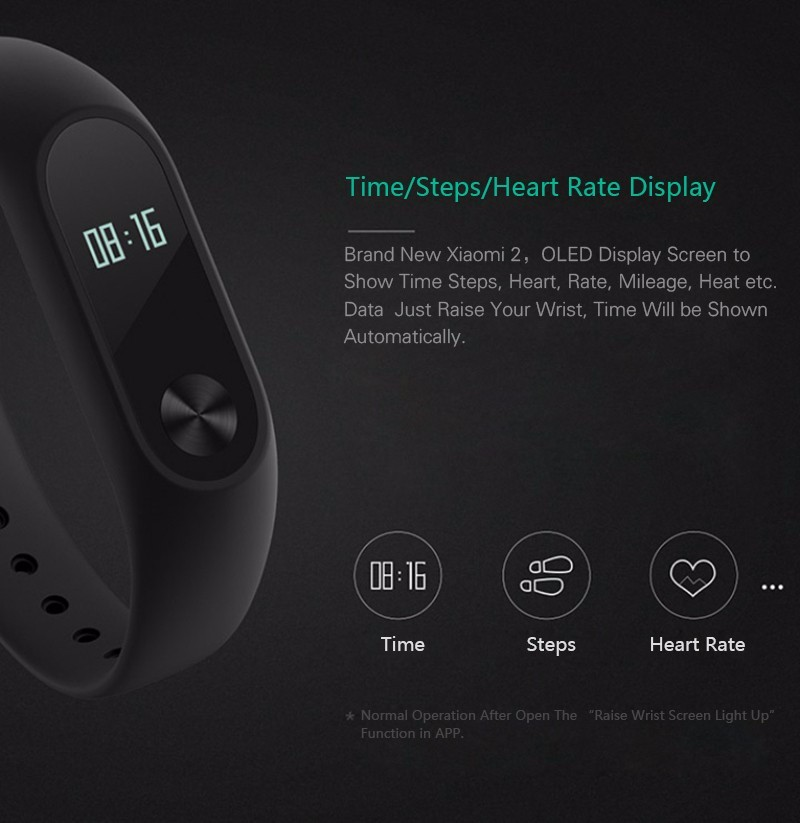 Original Xiaomi Band 2 Waterproof With Touch Display