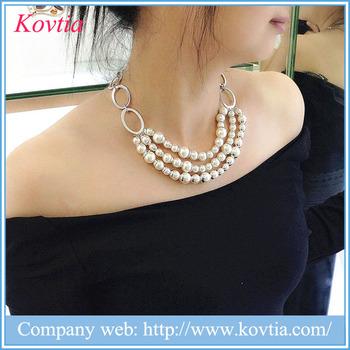 17122abb9f17 2017 joyería de lujo de moda tres Strand collar de cadena collar de  Gargantilla collar de