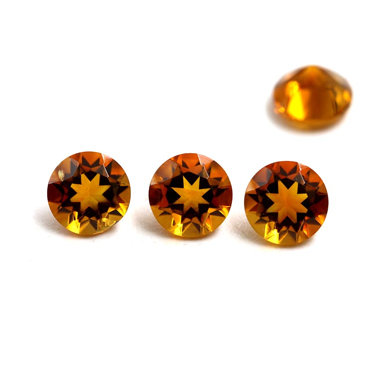 natural round cut yellow color 4mm loose citrine stone