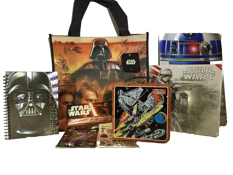 Star Wars Bundle Items Include Luke Skywalker Tin-Lunchbox-Darth Vader Notebook-Heavy Cardboard R2D2 Wall Sign-2016 Stormtrooper/Star Wars Calendar-Bag for School Supplies-Sticker & Coloring Kit