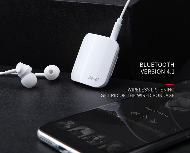 Recci New REB-U01 10 Hour Wireless Receiver,  Portable Wireless Audio Adapter 3.5mm Aux Stereo Output (Hands-Free Calling )