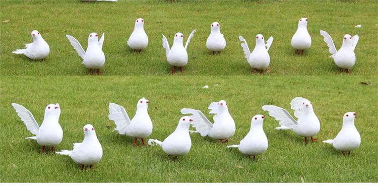 Atacado Festa de Casamento Decoração Artesanal Artificial Ornamento Pena Branca Pomba Voando Pássaros Decorativos