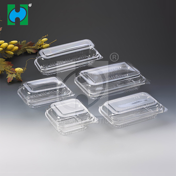 Custom made recyclable clear vegetable plastic clamshell packaging PET salad container