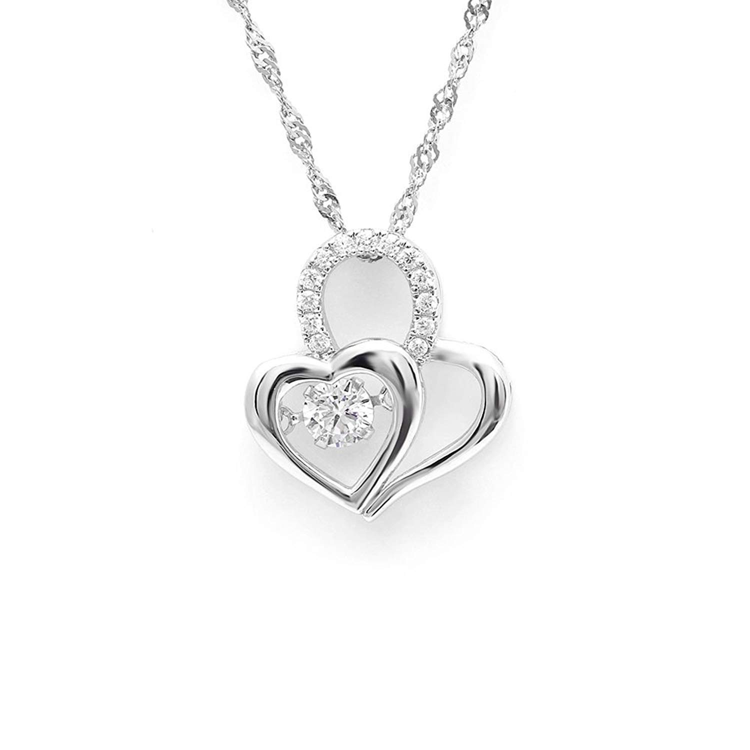 Ginger Lyne Collection Double Heart Dancing Stone Sterling Silver CZ Pendant Necklace Water Waves chain