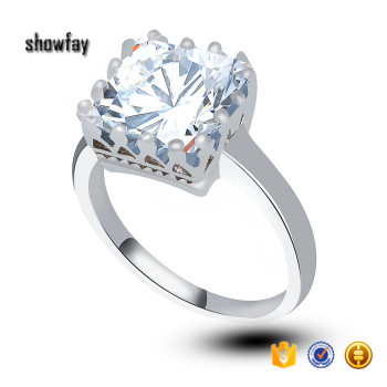 0093 crystal wedding rings for women platinum plated jewelry square zirconia ring - Crystal Wedding Rings