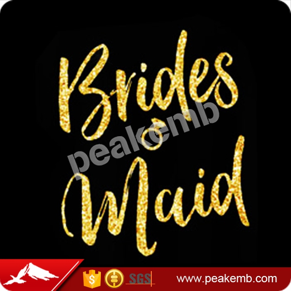 Bling Glitter Motif Bridesmaid iron on transfers for t shirts