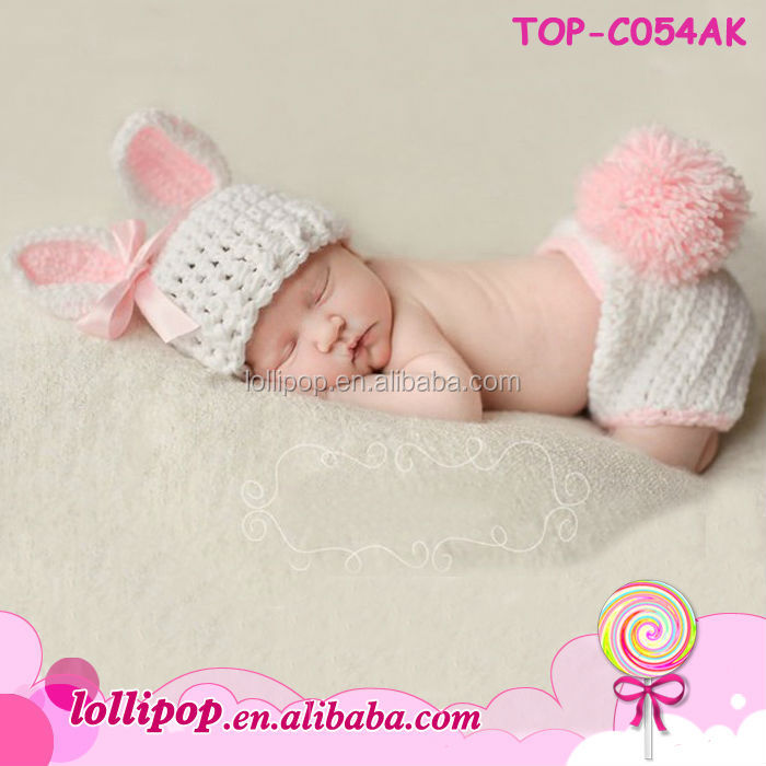 Latest design knitted baby crochet outfit cute newborn crochet baby hats and diaper cover