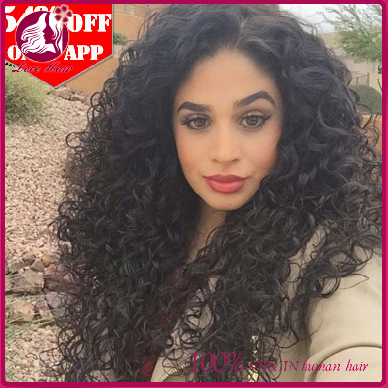 Unproessed 100% Natural Human Hair Malaysian Loose Curls Human Full Lace Wigs