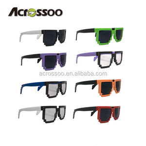 custom logo Smoke lens Large digital 8 bit pixeled promo sunglasses