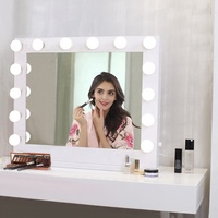 Led lighted table vanity makeup Hollywood Mirror With 14 Light Bulbs For Girl Vanity Cosmetic