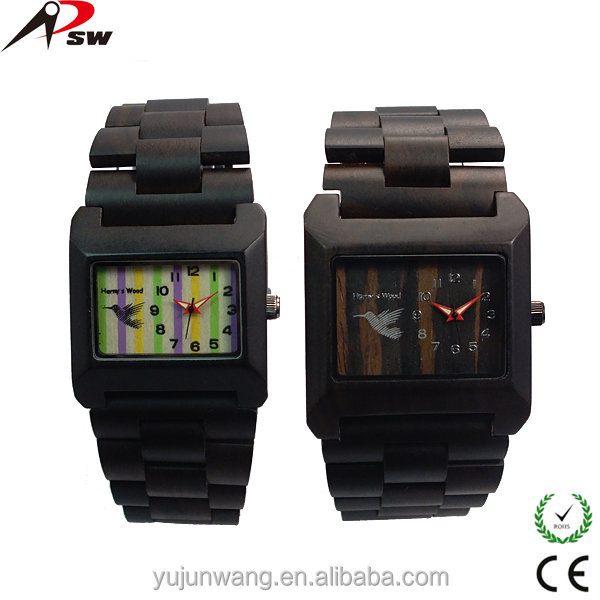Vogue square dial black sandal wood watches for men women best selling for Christmas festival