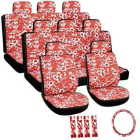 Flat Cloth Seat Cover Set for Toyota Mini Passenger Vans, Airbag Compatible, Split Bench, Hawaiian Red
