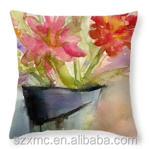 Beautiful watercolor printing satin home cushion filling polyester for fiower