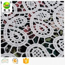 spanish 100% polyester yarn milk silk chemical lace embroidery fabric