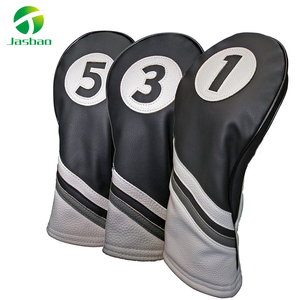 Golf Headcovers Black and White Leather Style 1, 3, 5 Driver and Fairway Head Covers Fits 460cc Drivers