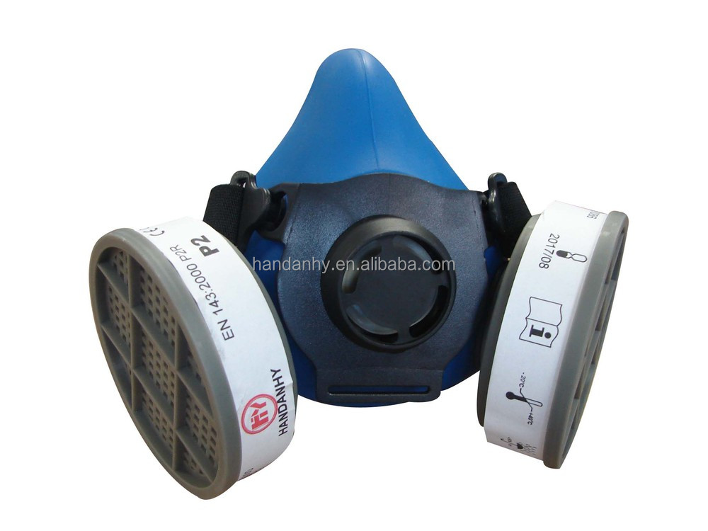 EN140 Silicone half face chemical gas masks with active carbon filter cartridges