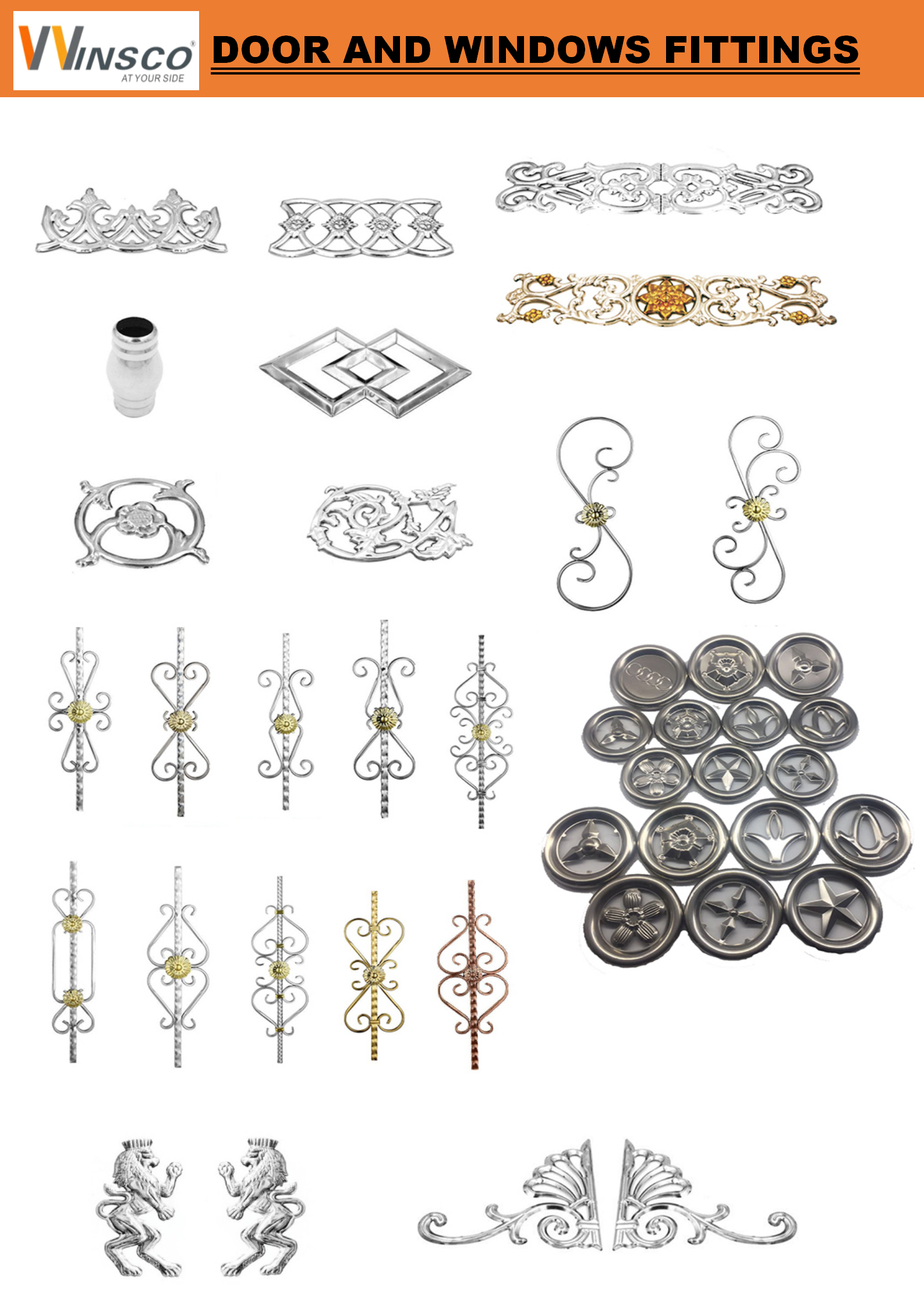 Classic stainless steel railing and gate or window grille decorative fittings