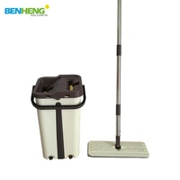 Flat Lazy Mop Magic Handsfree Self Washing and Squeeze Drying Mop Flat Mop Bucket Set System