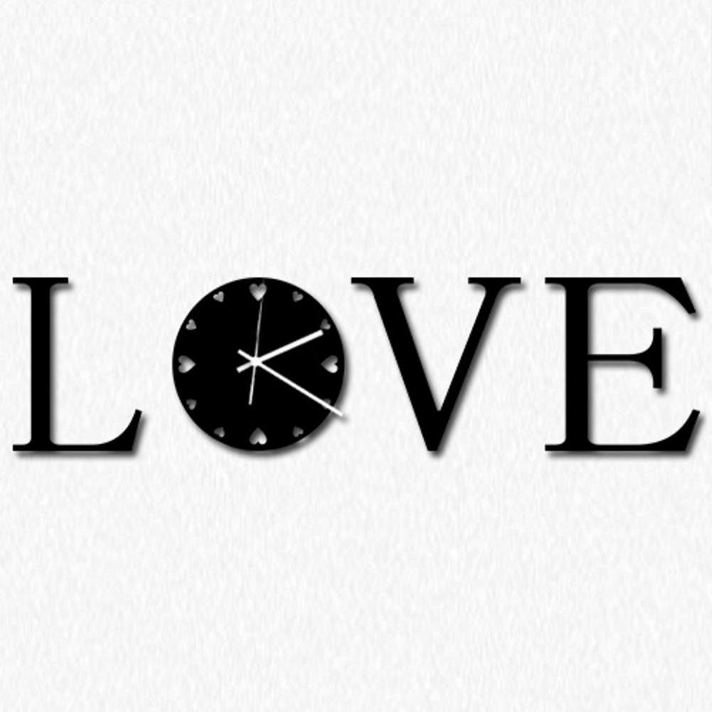 TONPAR Modern minimalist art wall clock clock mute LOVE clock , black