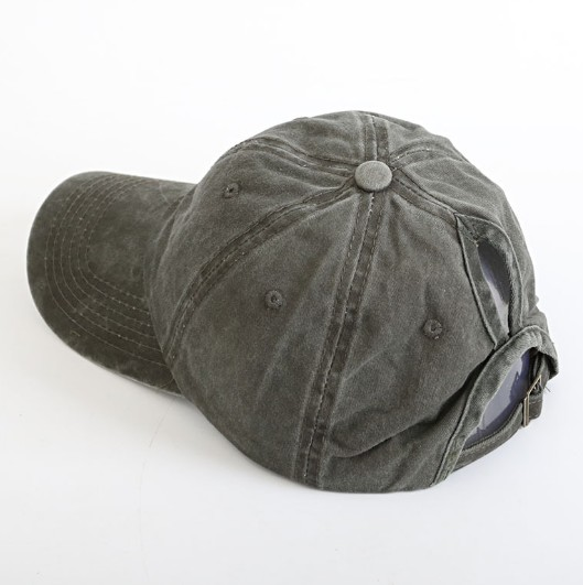 Wholesale Classic Adjustable Washed Cotton Ponytail  Worn-out Plain Baseball Cap for Women