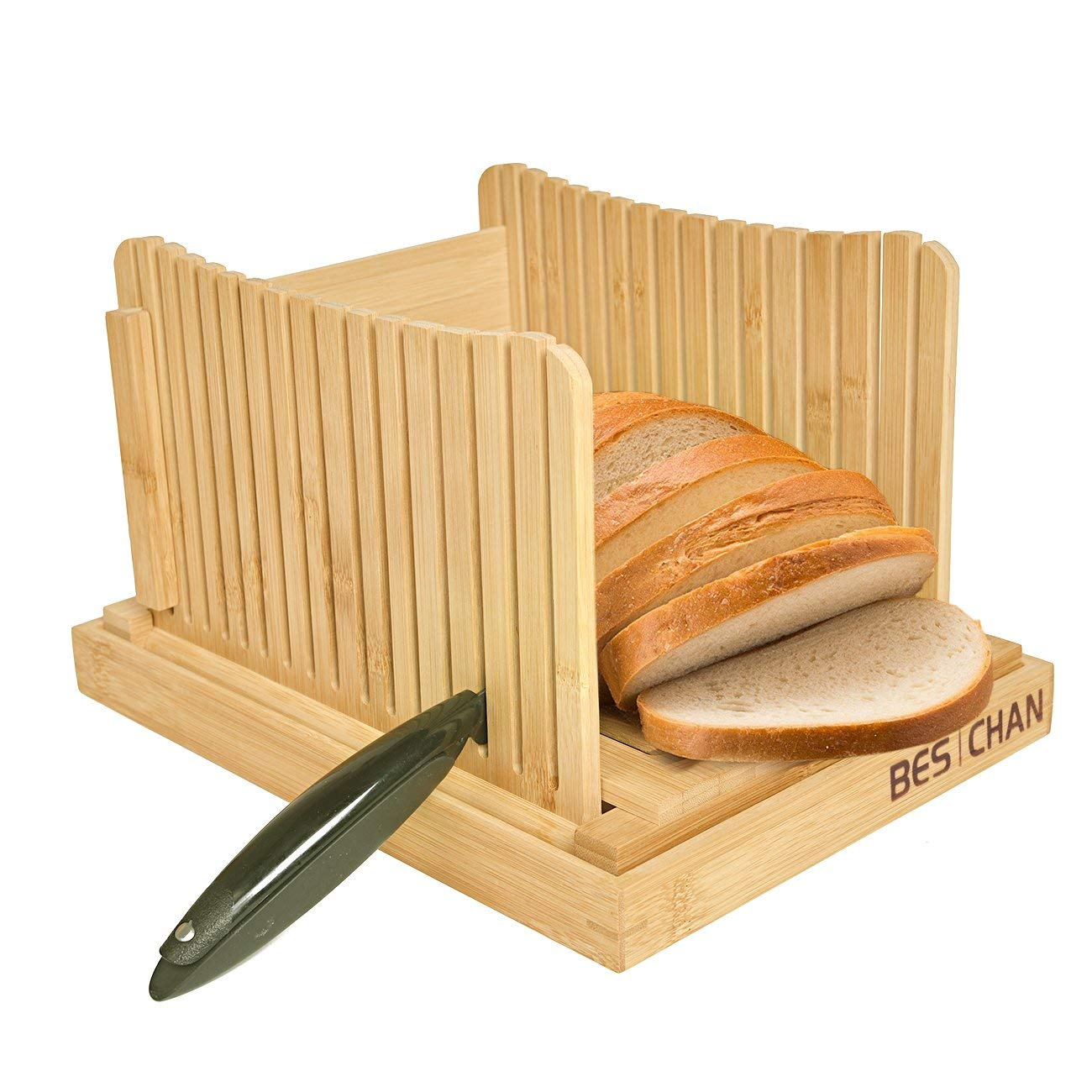 "Kinwell Nature Bamboo Foldable Bread Slicer with Crumb Catcher Tray for Homemade Bread & Loaf Cakes, Thickness Adjustable,Thick & Thin Slices 1/3"", 3/8"" and 1/2"""