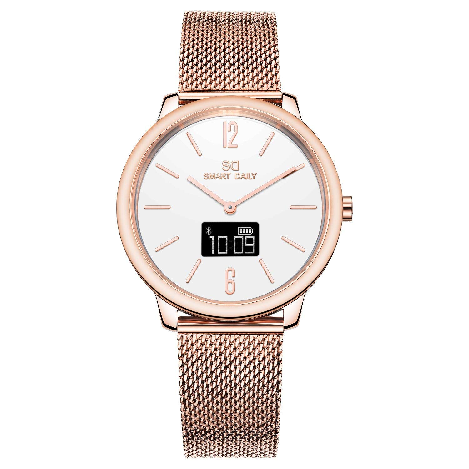 SD1242L(White/Mesh Band) Ladies Rose Gold Smart Watch,38mm, Bluetooth,Touchscreen, Time/Step/Distance/Calories Count, Stainless Steel case, 3atm Waterproof, Japan Quartz, OLED, App for IOS and Android